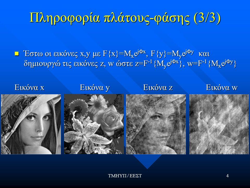 ΤΜΗΥΠ / ΕΕΣΤ4 Πληροφορία πλάτους-φάσης (3/3) Έστω οι εικόνες x,y με F{x}=M x e jΦx, F{y}=M y e jΦy και δημιουργώ τις εικόνες z, w ώστε z=F -1 {M y e jΦx }, w=F -1 {Μ x e jΦy } Έστω οι εικόνες x,y με F{x}=M x e jΦx, F{y}=M y e jΦy και δημιουργώ τις εικόνες z, w ώστε z=F -1 {M y e jΦx }, w=F -1 {Μ x e jΦy } Εικόνα x Εικόνα y Εικόνα z Εικόνα w