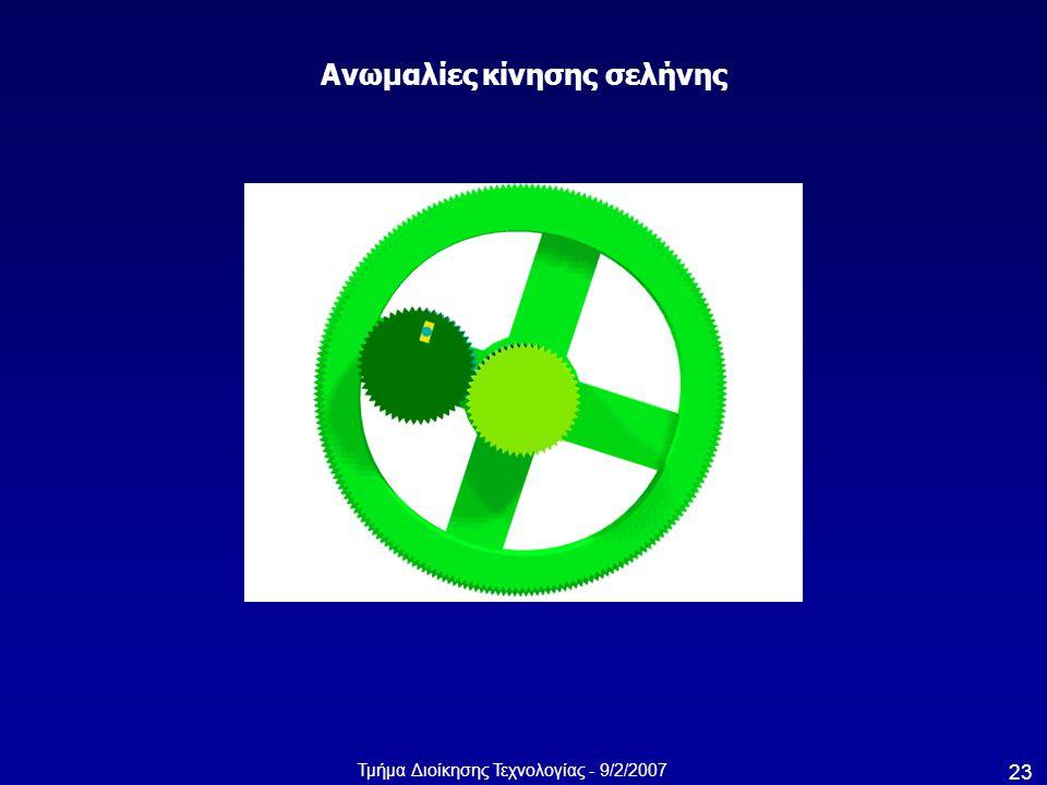 Τμήμα Διοίκησης Τεχνολογίας - 9/2/2007 23 Ανωμαλίες κίνησης σελήνης