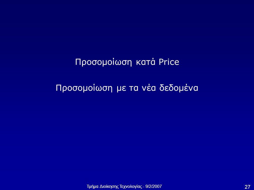 Τμήμα Διοίκησης Τεχνολογίας - 9/2/2007 27 Προσομοίωση κατά Price Προσομοίωση με τα νέα δεδομένα