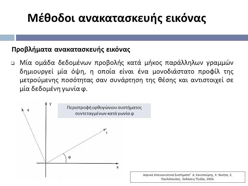 Μέθοδοι ανακατασκευής εικόνας Προβλήματα ανακατασκευής εικόνας  Μία ομάδα δεδομένων προβολής κατά μήκος παράλληλων γραμμών δημιουργεί μία όψη, η οποί