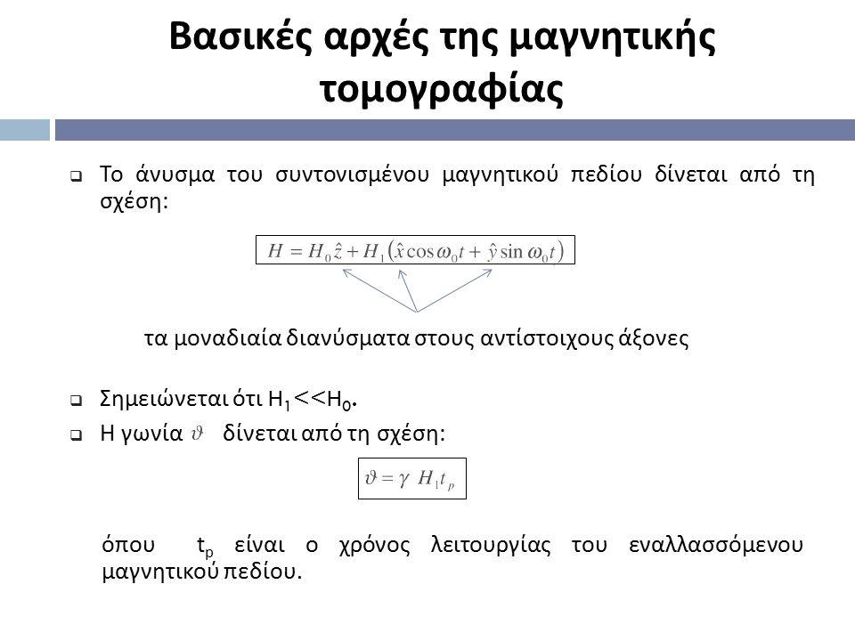  Το άνυσμα του συντονισμένου μαγνητικού πεδίου δίνεται από τη σχέση : Βασικές αρχές της μαγνητικής τομογραφίας  Σημειώνεται ότι H 1 <<H 0.  Η γωνία
