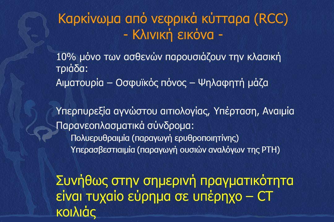 Καρκίνωμα από νεφρικά κύτταρα (RCC) - Κλινική εικόνα - 10% μόνο των ασθενών παρουσιάζουν την κλασική τριάδα: Αιματουρία – Οσφυϊκός πόνος – Ψηλαφητή μά