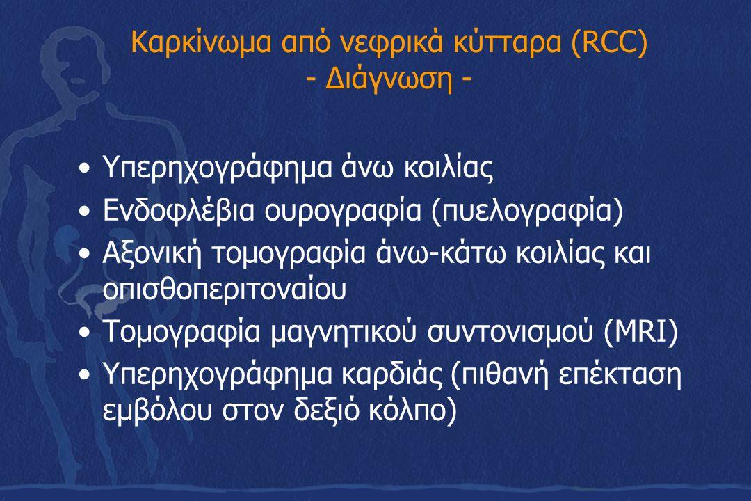 Καρκίνωμα από νεφρικά κύτταρα (RCC) - Διάγνωση - Υπερηχογράφημα άνω κοιλίας Ενδοφλέβια ουρογραφία (πυελογραφία) Αξονική τομογραφία άνω-κάτω κοιλίας κα