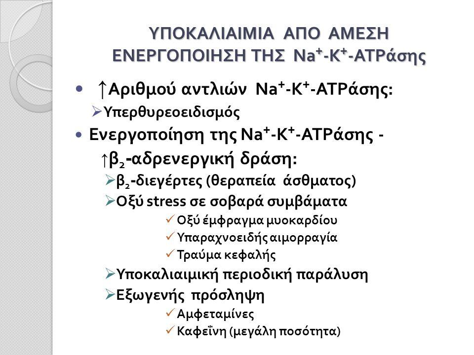 ΥΠΟΚΑΛΙΑΙΜΙΑ ΑΠΟ ΑΜΕΣΗ ΕΝΕΡΓΟΠΟΙΗΣΗ ΤΗΣ Na + -K + -ATPάσης ↑ Αριθμού αντλιών Na + -K + -ATPάσης:  Υπερθυρεοειδισμός Ενεργοποίηση της Na + -K + -ATPάσης - ↑ β 2 - αδρενεργική δράση:  β 2 - διεγέρτες (θεραπεία άσθματος)  Οξύ stress σε σοβαρά συμβάματα Οξύ έμφραγμα μυοκαρδίου Υπαραχνοειδής αιμορραγία Τραύμα κεφαλής  Υποκαλιαιμική περιοδική παράλυση  Εξωγενής πρόσληψη Αμφεταμίνες Καφεΐνη (μεγάλη ποσότητα)