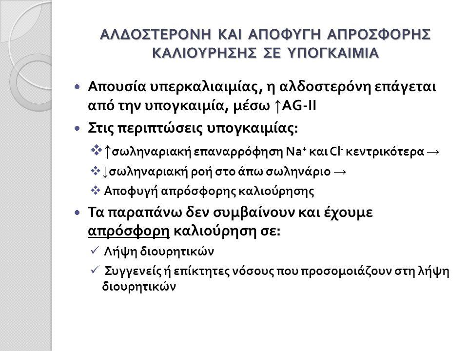 ΑΛΔΟΣΤΕΡΟΝΗ ΚΑΙ ΑΠΟΦΥΓΗ ΑΠΡΟΣΦΟΡΗΣ ΚΑΛΙΟΥΡΗΣΗΣ ΣΕ ΥΠΟΓΚΑΙΜΙΑ Απουσία υπερκαλιαιμίας, η αλδοστερόνη επάγεται από την υπογκαιμία, μέσω ↑ AG-II Στις περιπτώσεις υπογκαιμίας:  ↑ σωληναριακή επαναρρόφηση Na + και Cl - κεντρικότερα →  ↓ σωληναριακή ροή στο άπω σωληνάριο →  Αποφυγή απρόσφορης καλιούρησης Τα παραπάνω δεν συμβαίνουν και έχουμε απρόσφορη καλιούρηση σε: Λήψη διουρητικών Συγγενείς ή επίκτητες νόσους που προσομοιάζουν στη λήψη διουρητικών