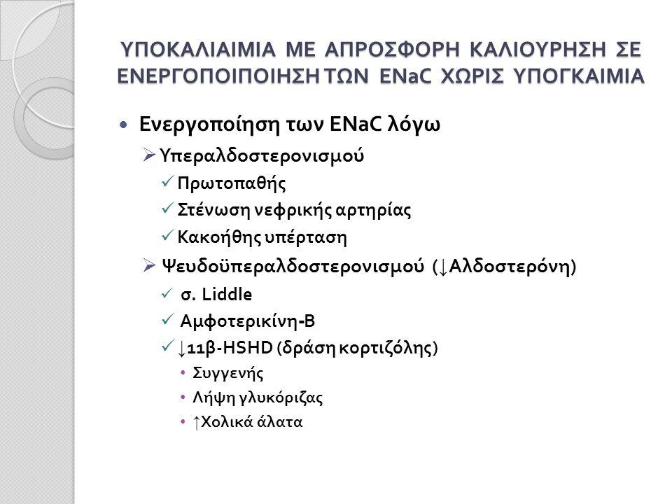 ΥΠΟΚΑΛΙΑΙΜΙΑ ΜΕ ΑΠΡΟΣΦΟΡΗ ΚΑΛΙΟΥΡΗΣΗ ΣΕ ΕΝΕΡΓΟΠΟΙΠΟΙΗΣΗ ΤΩΝ ENaC ΧΩΡΙΣ ΥΠΟΓΚΑΙΜΙΑ Ενεργοποίηση των ENaC λόγω  Υπεραλδοστερονισμού Πρωτοπαθής Στένωση νεφρικής αρτηρίας Κακοήθης υπέρταση  Ψευδοϋπεραλδοστερονισμού ( ↓ Αλδοστερόνη) σ.