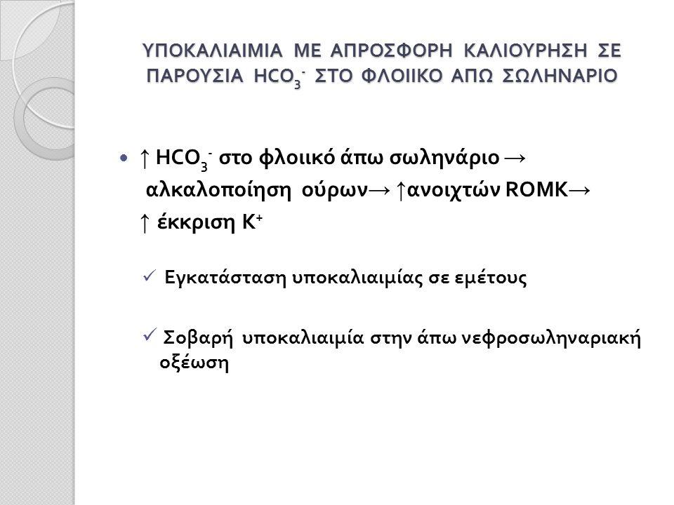 ΥΠΟΚΑΛΙΑΙΜΙΑ ΜΕ ΑΠΡΟΣΦΟΡΗ ΚΑΛΙΟΥΡΗΣΗ ΣΕ ΠΑΡΟΥΣΙΑ HCO 3 - ΣΤΟ ΦΛΟΙΙΚΟ ΑΠΩ ΣΩΛΗΝΑΡΙΟ ↑ HCO 3 - στο φλοιικό άπω σωληνάριο → αλκαλοποίηση ούρων → ↑ ανοιχτών ROMK → ↑ έκκριση Κ + Εγκατάσταση υποκαλιαιμίας σε εμέτους Σοβαρή υποκαλιαιμία στην άπω νεφροσωληναριακή οξέωση