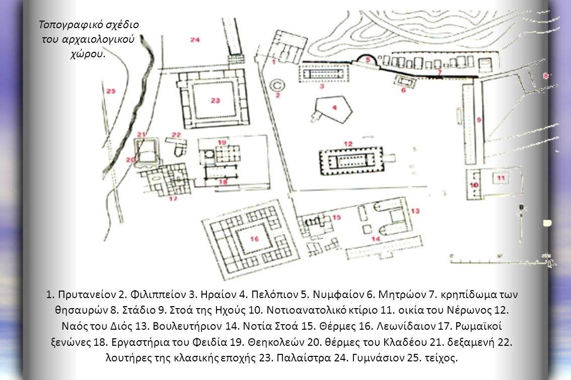 Τοπογραφικό σχέδιο του αρχαιολογικού χώρου. 1. Πρυτανείον 2. Φιλιππείον 3. Hραίον 4. Πελόπιον 5. Νυμφαίον 6. Μητρώον 7. κρηπίδωμα των θησαυρών 8. Στάδ