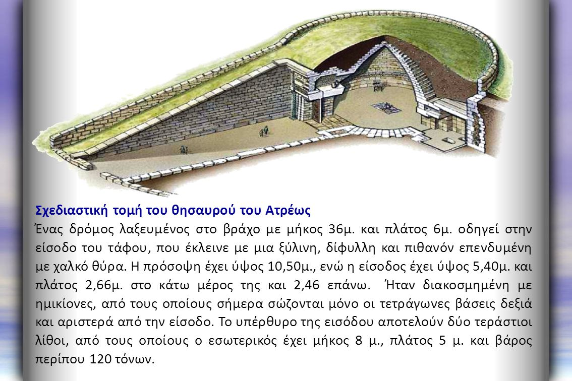 Σχεδιαστική τομή του θησαυρού του Ατρέως Ένας δρόμος λαξευμένος στο βράχο με μήκος 36μ. και πλάτος 6μ. οδηγεί στην είσοδο του τάφου, που έκλεινε με μι