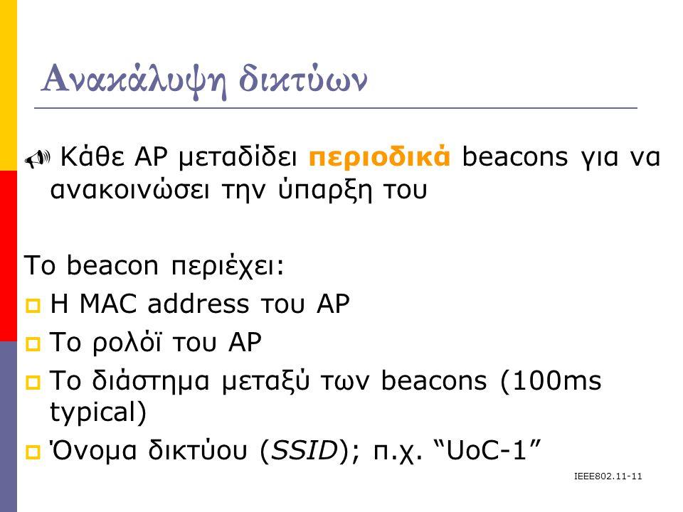 IEEE802.11-11 Ανακάλυψη δικτύων  Κάθε AP μεταδίδει περιοδικά beacons για να ανακοινώσει την ύπαρξη του Το beacon περιέχει:  H MAC address του AP  Το ρολόϊ του AP  Το διάστημα μεταξύ των beacons (100ms typical)   Όνομα δικτύου (SSID); π.χ.