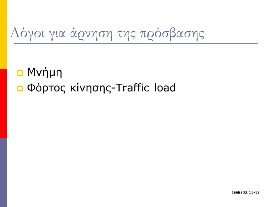 IEEE802.11-13 Λόγοι για άρνηση της πρόσβασης  Μνήμη  Φόρτος κίνησης-Traffic load
