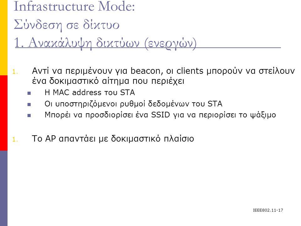 IEEE802.11-17 Infrastructure Mode: Σύνδεση σε δίκτυο 1.