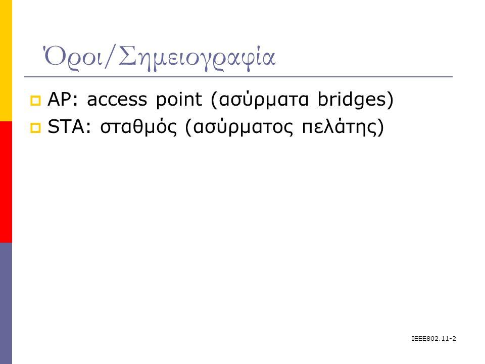 IEEE802.11-2 Όροι/Σημειογραφία  AP: access point (ασύρματα bridges)   STA: σταθμός (ασύρματος πελάτης) 