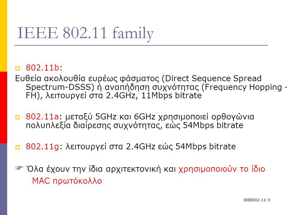 IEEE802.11-3 IEEE 802.11 family  802.11b: Ευθεία ακολουθία ευρέως φάσματος (Direct Sequence Spread Spectrum-DSSS) ή αναπήδηση συχνότητας (Frequency Hopping - FH), λειτουργεί στα 2.4GHz, 11Mbps bitrate  802.11a: μεταξύ 5GHz και 6GHz χρησιμοποιεί ορθογώνια πολυπλεξία διαίρεσης συχνότητας, εώς 54Mbps bitrate  802.11g: λειτουργεί στα 2.4GHz εώς 54Mbps bitrate  Όλα έχουν την ίδια αρχιτεκτονική και χρησιμοποιούν το ίδιο MAC πρωτόκολλο