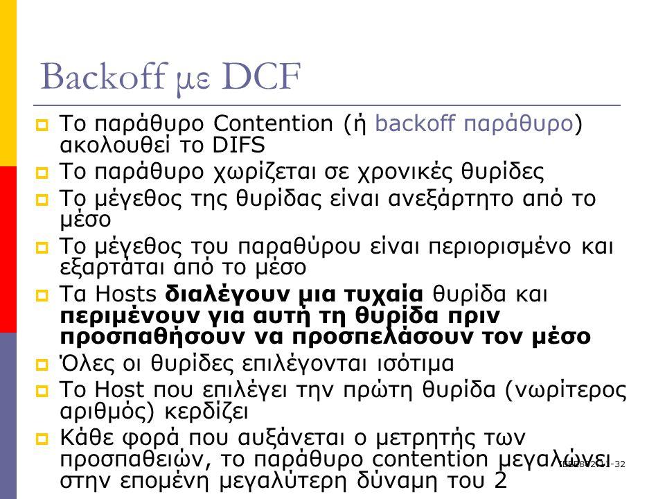 IEEE802.11-32 Backoff με DCF  Το παράθυρο Contention (ή backoff παράθυρο) ακολουθεί το DIFS  Το παράθυρο χωρίζεται σε χρονικές θυρίδες  Το μέγεθος της θυρίδας είναι ανεξάρτητο από το μέσο  Το μέγεθος του παραθύρου είναι περιορισμένο και εξαρτάται από το μέσο  Τα Hosts διαλέγουν μια τυχαία θυρίδα και περιμένουν για αυτή τη θυρίδα πριν προσπαθήσουν να προσπελάσουν τον μέσο  Όλες οι θυρίδες επιλέγονται ισότιμα  Το Host που επιλέγει την πρώτη θυρίδα (νωρίτερος αριθμός) κερδίζει  Κάθε φορά που αυξάνεται ο μετρητής των προσπαθειών, το παράθυρο contention μεγαλώνει στην επομένη μεγαλύτερη δύναμη του 2