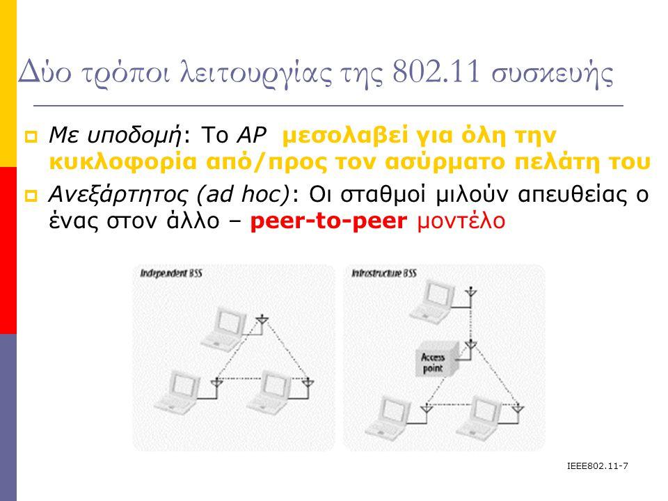 IEEE802.11-8 Επικοινωνία μεταξύ των Access Points (Inter- Access Point Protocol IAPP)   Εάν ένας πελάτης συσχετίζεται με ένα ΑP, Όλα τα άλλα APs στο ESS πρέπει να μάθουν για αυτόν τον πελάτη  Εάν ένας πελάτης που συσχετίζεται με ένα AP στείλει ένα πλαίσιο σε ένα σταθμό που συσχτίζεται με διαφορετικό AP, τότε η μηχανή υπεύθυνη για την γεφύρωηση (bridging engine) στο πρώτο AP πρέπει να στείλει το πλαίσιο μέσω του Ethernet κορμού (backbone) στο δεύτερο AP έτσι ώστε να μπορέσει να φτάσει στον τελικό του προορισμό.