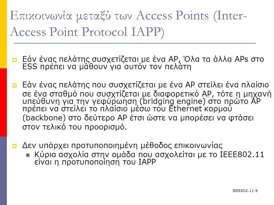 IEEE802.11-19 Σε κατάσταση υποδομής (infrastructure mode): Σύνδεση σε δίκτυο 3.