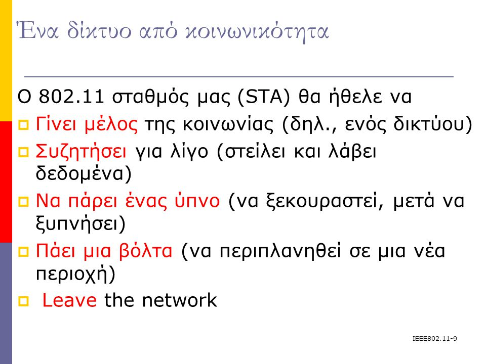 IEEE802.11-9 Ένα δίκτυο από κοινωνικότητα Ο 802.11 σταθμός μας (STA) θα ήθελε να  Γίνει μέλος της κοινωνίας (δηλ., ενός δικτύου)  Συζητήσει για λίγο (στείλει και λάβει δεδομένα)   Να πάρει ένας ύπνο (να ξεκουραστεί, μετά να ξυπνήσει)  Πάει μια βόλτα (να περιπλανηθεί σε μια νέα περιοχή)  Leave the network