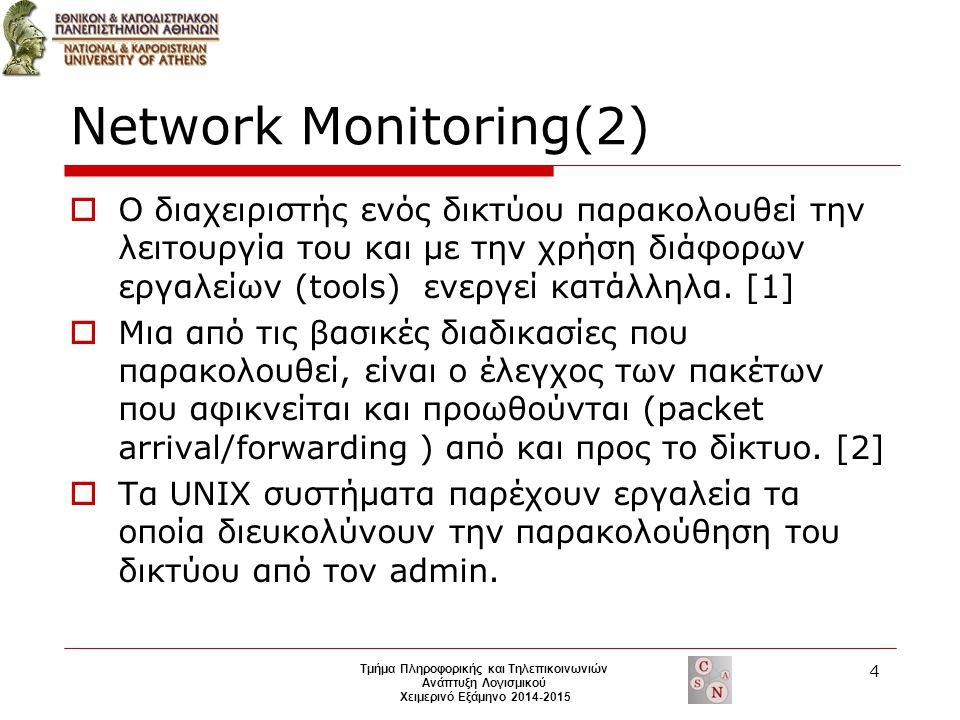Network Monitoring(2)  Ο διαχειριστής ενός δικτύου παρακολουθεί την λειτουργία του και με την χρήση διάφορων εργαλείων (tools) ενεργεί κατάλληλα.