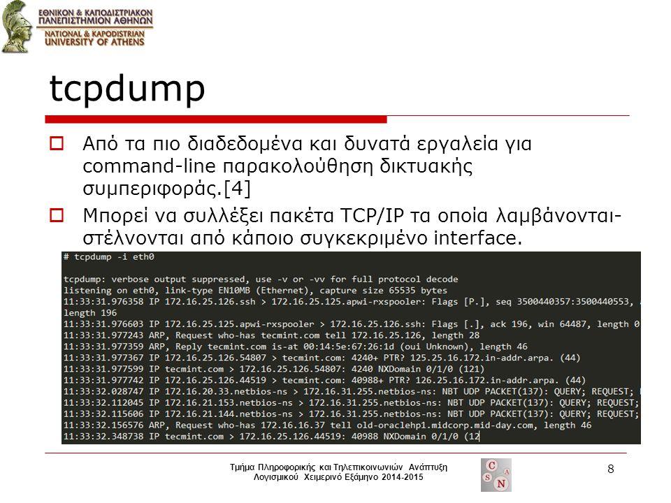 tcpdump  Από τα πιο διαδεδομένα και δυνατά εργαλεία για command-line παρακολούθηση δικτυακής συμπεριφοράς.[4]  Μπορεί να συλλέξει πακέτα TCP/IP τα οποία λαμβάνονται- στέλνονται από κάποιο συγκεκριμένο interface.