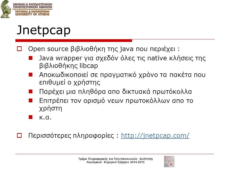 Jnetpcap  Open source βιβλιοθήκη της java που περιέχει : Java wrapper για σχεδόν όλες τις native κλήσεις της βιβλιοθήκης libcap Αποκωδικοποιεί σε πραγματικό χρόνο τα πακέτα που επιθυμεί ο χρήστης Παρέχει μια πληθόρα απο δικτυακά πρωτόκολλα Επιτρέπει τον ορισμό νεων πρωτοκόλλων απο το χρήστη κ.α.