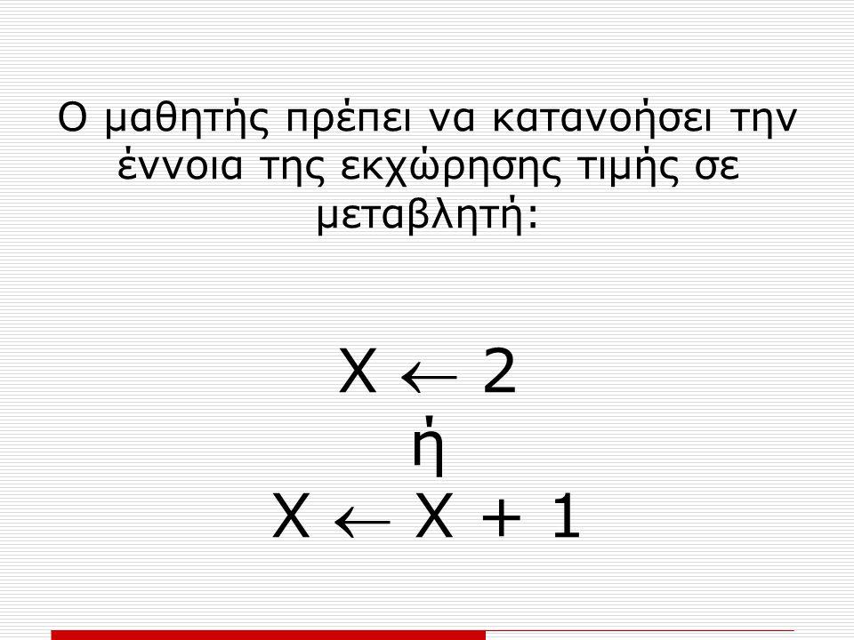 Ο μαθητής πρέπει να κατανοήσει την έννοια της εκχώρησης τιμής σε μεταβλητή: Χ  2 ή Χ  Χ + 1