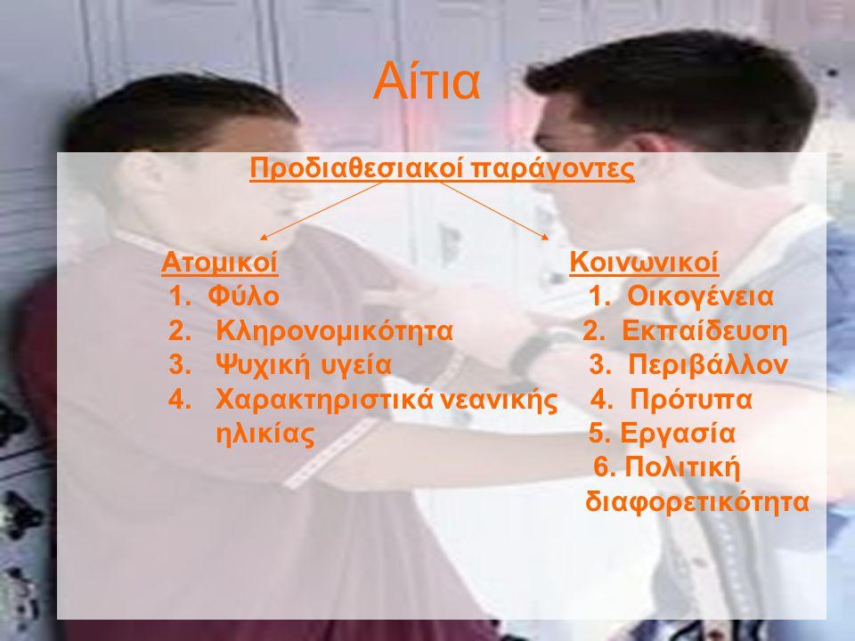 Αίτια Προδιαθεσιακοί παράγοντες Ατομικοί Κοινωνικοί 1.