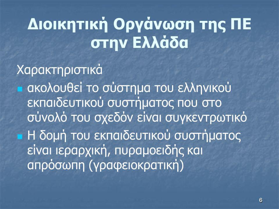 6 Διοικητική Οργάνωση της ΠΕ στην Ελλάδα Χαρακτηριστικά ακολουθεί το σύστημα του ελληνικού εκπαιδευτικού συστήματος που στο σύνολό του σχεδόν είναι συ