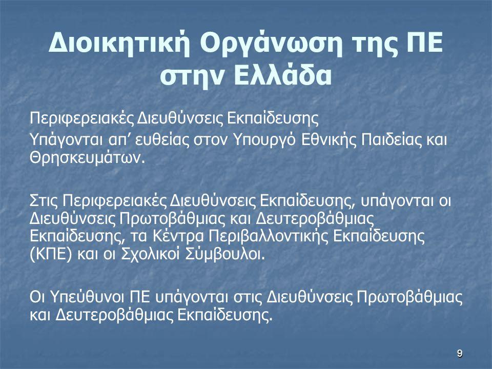 9 Διοικητική Οργάνωση της ΠΕ στην Ελλάδα Περιφερειακές Διευθύνσεις Εκπαίδευσης Υπάγονται απ' ευθείας στον Υπουργό Εθνικής Παιδείας και Θρησκευμάτων. Σ