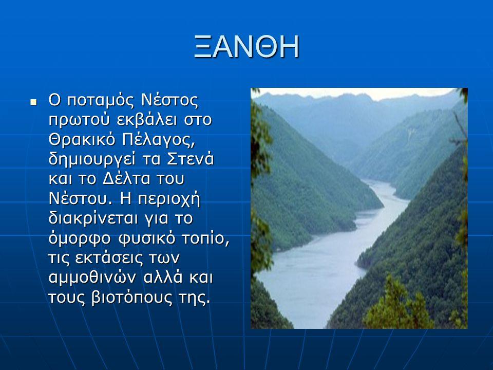 ΞΑΝΘΗ Ο ποταμός Νέστος πρωτού εκβάλει στο Θρακικό Πέλαγος, δημιουργεί τα Στενά και το Δέλτα του Νέστου. Η περιοχή διακρίνεται για το όμορφο φυσικό τοπ