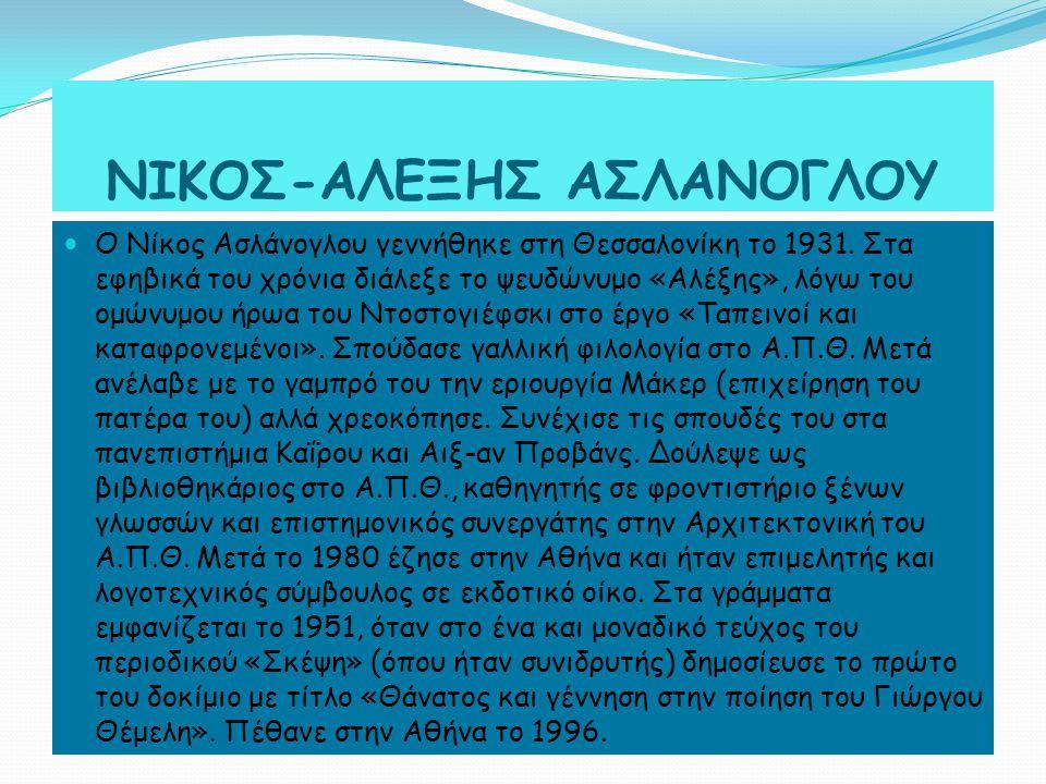 Ο Νίκος Ασλάνογλου γεννήθηκε στη Θεσσαλονίκη το 1931.