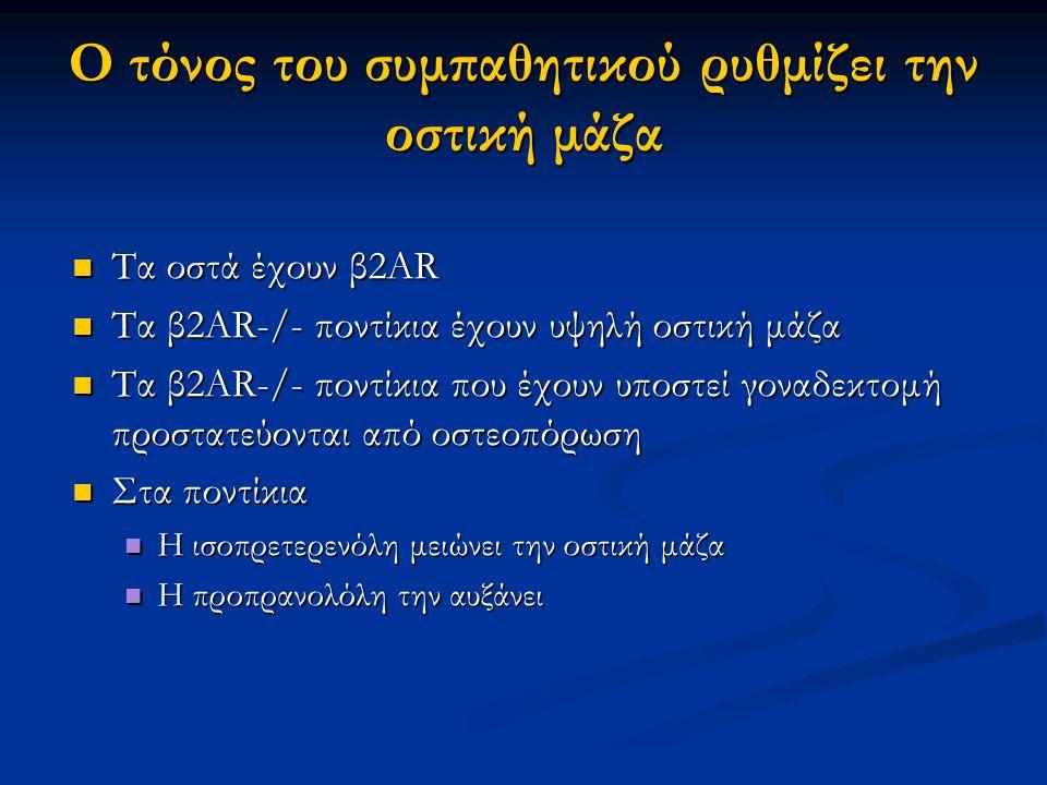 Ο τόνος του συμπαθητικού ρυθμίζει την οστική μάζα Τα οστά έχουν β2AR Τα οστά έχουν β2AR Τα β2AR-/- ποντίκια έχουν υψηλή οστική μάζα Τα β2AR-/- ποντίκια έχουν υψηλή οστική μάζα Τα β2AR-/- ποντίκια που έχουν υποστεί γοναδεκτομή προστατεύονται από οστεοπόρωση Τα β2AR-/- ποντίκια που έχουν υποστεί γοναδεκτομή προστατεύονται από οστεοπόρωση Στα ποντίκια Στα ποντίκια Η ισοπρετερενόλη μειώνει την οστική μάζα Η ισοπρετερενόλη μειώνει την οστική μάζα Η προπρανολόλη την αυξάνει Η προπρανολόλη την αυξάνει