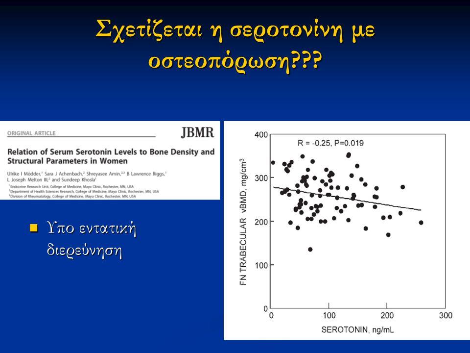 Σχετίζεται η σεροτονίνη με οστεοπόρωση??? Υπο εντατική διερεύνηση Υπο εντατική διερεύνηση