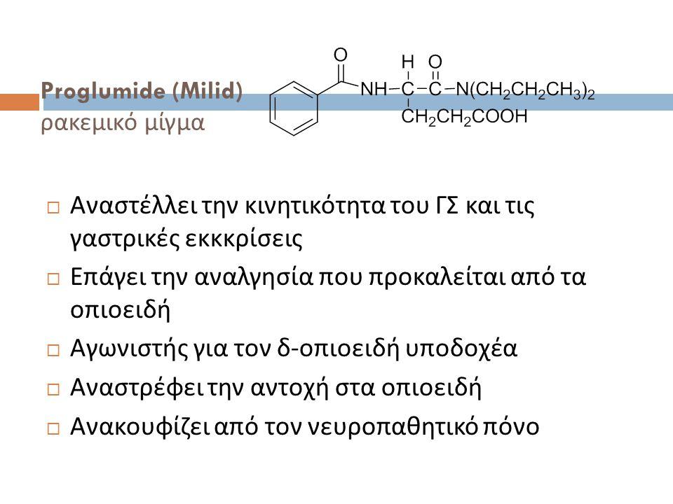 Proglumide (Milid) ρακεμικό μίγμα  Αναστέλλει την κινητικότητα του ΓΣ και τις γαστρικές εκκκρίσεις  Επάγει την αναλγησία που προκαλείται από τα οπιοειδή  Αγωνιστής για τον δ - οπιοειδή υποδοχέα  Αναστρέφει την αντοχή στα οπιοειδή  Ανακουφίζει από τον νευροπαθητικό πόνο