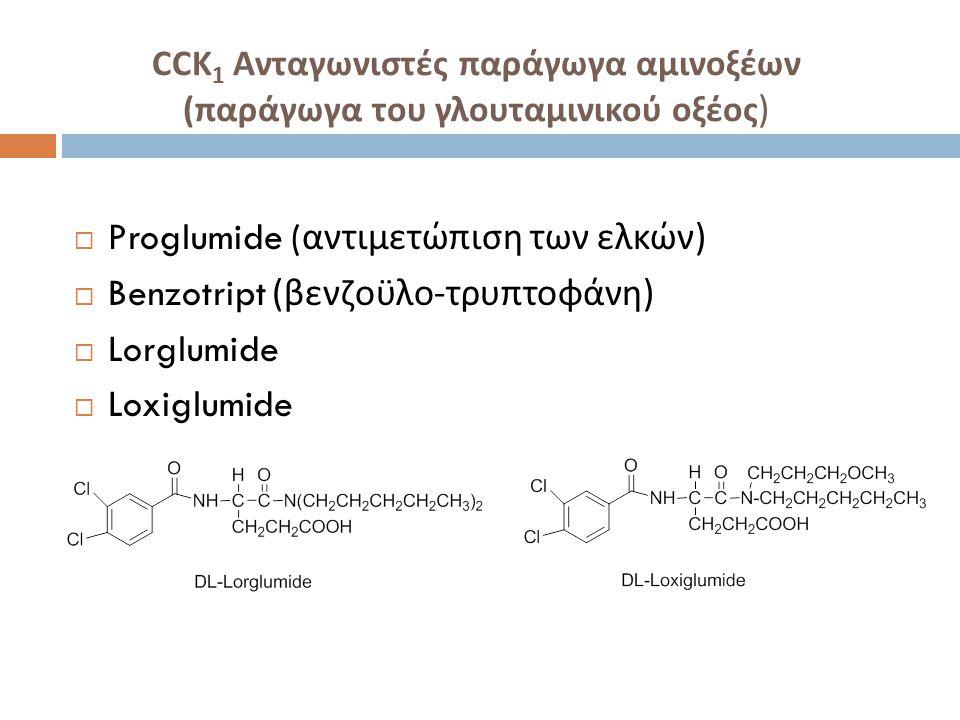 CCK 1 Ανταγωνιστές παράγωγα αμινοξέων ( παράγωγα του γλουταμινικού οξέος )  Proglumide ( αντιμετώπιση των ελκών )  Benzotript ( βενζοϋλο - τρυπτοφάνη )  Lorglumide  Loxiglumide