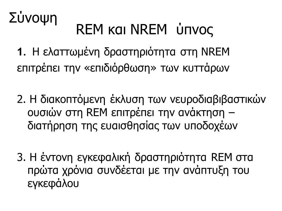 REM και ΝREM ύπνος 1. Η ελαττωμένη δραστηριότητα στη ΝREM επιτρέπει την «επιδιόρθωση» των κυττάρων 2. Η διακοπτόμενη έκλυση των νευροδιαβιβαστικών ουσ