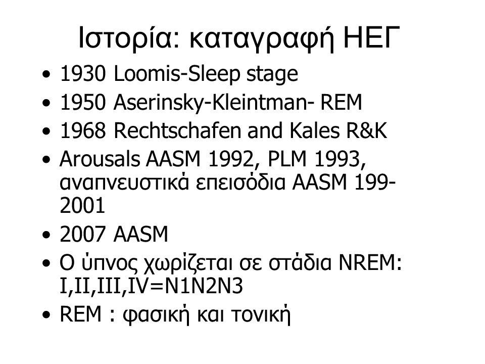 Ιστορία: καταγραφή ΗΕΓ 1930 Loomis-Sleep stage 1950 Aserinsky-Kleintman- REM 1968 Rechtschafen and Kales R&K Arousals AASM 1992, PLM 1993, αναπνευστικ