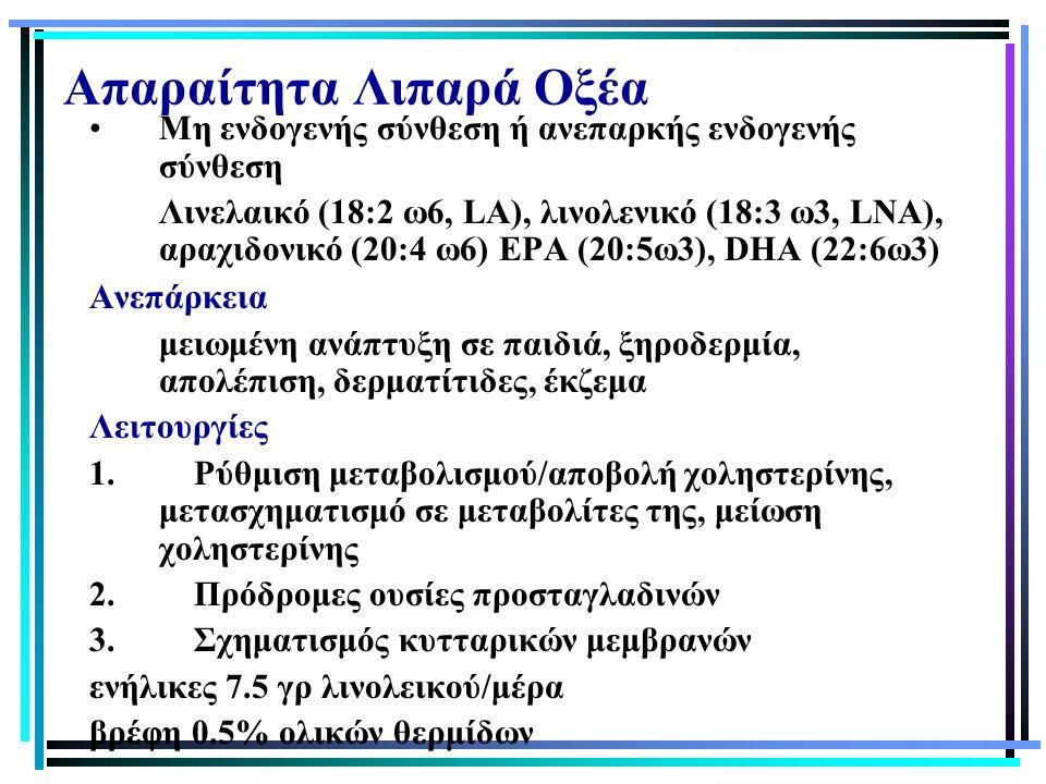 Απαραίτητα Λιπαρά Οξέα Μη ενδογενής σύνθεση ή ανεπαρκής ενδογενής σύνθεση Λινελαικό (18:2 ω6, LA), λινολενικό (18:3 ω3, LNA), αραχιδονικό (20:4 ω6) EP