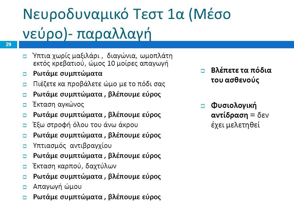 Νευροδυναμικό Τεστ 1 α ( Μέσο νεύρο )- παραλλαγή  Ύπτια χωρίς μαξιλάρι, διαγώνια, ωμοπλάτη εκτός κρεβατιού, ώμος 10 μοίρες απαγωγή  Ρωτάμε συμπτώματ