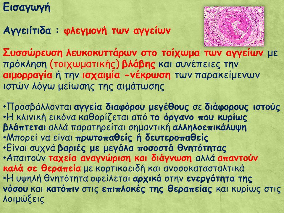 Εισαγωγή Αγγειίτιδα : φλεγμονή των αγγείων Συσσώρευση λευκοκυττάρων στο τοίχωμα των αγγείων με πρόκληση (τοιχωματικής) βλάβης και συνέπειες την αιμορραγία ή την ισχαιμία -νέκρωση των παρακείμενων ιστών λόγω μείωσης της αιμάτωσης Προσβάλλoνται αγγεία διαφόρου μεγέθους σε διάφορους ιστούς Η κλινική εικόνα καθορίζεται από το όργανο που κυρίως βλάπτεται αλλά παρατηρείται σημαντική αλληλοεπικάλυψη Μπορεί να είναι πρωτοπαθείς ή δευτεροπαθείς Είναι συχνά βαριές με μεγάλα ποσοστά θνητότητας Απαιτούν ταχεία αναγνώριση και διάγνωση αλλά απαντούν καλά σε θεραπεία με κορτικοειδή και ανοσοκατασταλτικά Η υψηλή θνητότητα οφείλεται αρχικά στην ενεργότητα της νόσου και κατόπιν στις επιπλοκές της θεραπείας και κυρίως στις λοιμώξεις