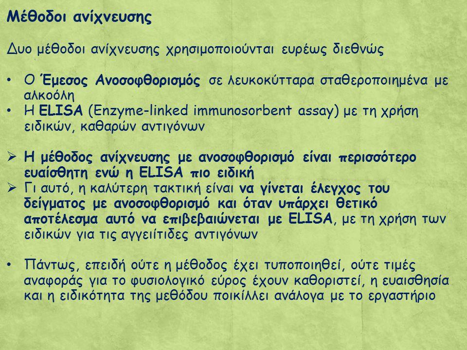Μέθοδοι ανίχνευσης Δυο μέθοδοι ανίχνευσης χρησιμοποιούνται ευρέως διεθνώς Ο Έμεσος Ανοσοφθορισμός σε λευκοκύτταρα σταθεροποιημένα με αλκοόλη Η ELISA (Enzyme-linked immunosorbent assay) με τη χρήση ειδικών, καθαρών αντιγόνων  Η μέθοδος ανίχνευσης με ανοσοφθορισμό είναι περισσότερο ευαίσθητη ενώ η ELISA πιο ειδική  Γι αυτό, η καλύτερη τακτική είναι να γίνεται έλεγχος του δείγματος με ανοσοφθορισμό και όταν υπάρχει θετικό αποτέλεσμα αυτό να επιβεβαιώνεται με ELISA, με τη χρήση των ειδικών για τις αγγειίτιδες αντιγόνων Πάντως, επειδή ούτε η μέθοδος έχει τυποποιηθεί, ούτε τιμές αναφοράς για το φυσιολογικό εύρος έχουν καθοριστεί, η ευαισθησία και η ειδικότητα της μεθόδου ποικίλλει ανάλογα με το εργαστήριο