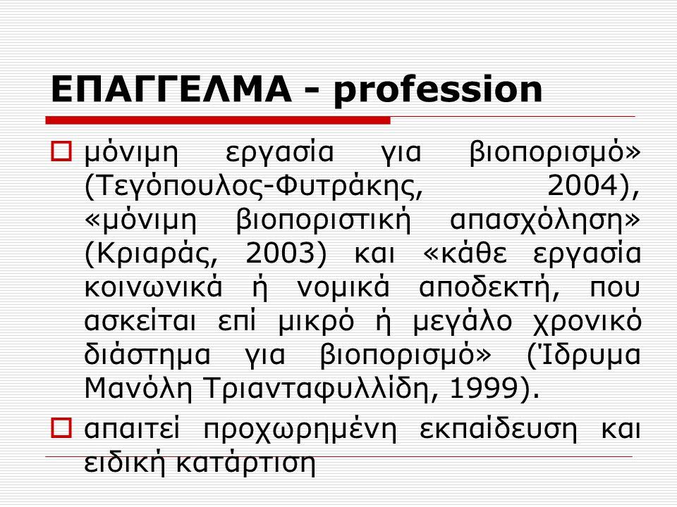 ΕΠΑΓΓΕΛΜΑ - profession Ο Hoyle (1982) αναφέρει ότι ο όρος επάγγελμα χρησιμοποιείται τόσο περιγραφικά όσο και ρυθμιστικά.