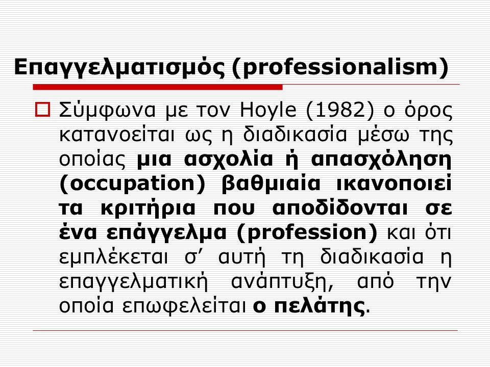 Επαγγελματοποίηση  ορισμός των λειτουργιών του επαγγέλματος,  κατοχή των θεωρητικών γνώσεων,  ικανότητα επίλυσης προβλημάτων,  χρήση πρακτικών γνώσεων,  ενδυνάμωση (αυτοβελτίωση),  τυπική κατάρτιση,  διαπίστευση,  δημιουργία ιδιαίτερης κουλτούρας  νομική ενίσχυση,  δημόσια αποδοχή,  ηθική πρακτική,  κυρώσεις,  σχέσεις με άλλα επαγγέλματα,  σχέσεις με τους χρήστες της υπηρεσίας