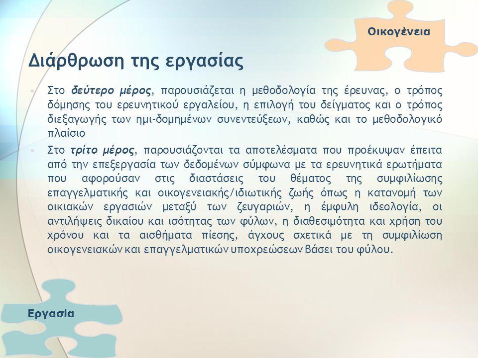 Διάρθρωση της εργασίας Στο δεύτερο μέρος, παρουσιάζεται η μεθοδολογία της έρευνας, ο τρόπος δόμησης του ερευνητικού εργαλείου, η επιλογή του δείγματος