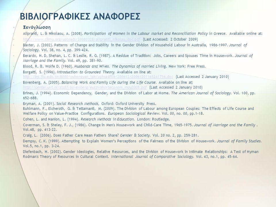 ΒΙΒΛΙΟΓΡΑΦΙΚΕΣ ΑΝΑΦΟΡΕΣ Ξενόγλωσση Alipranti, L. & Nikolaou, A. (2008). Participation of Women in the Labour Market and Reconciliation Policy in Greec