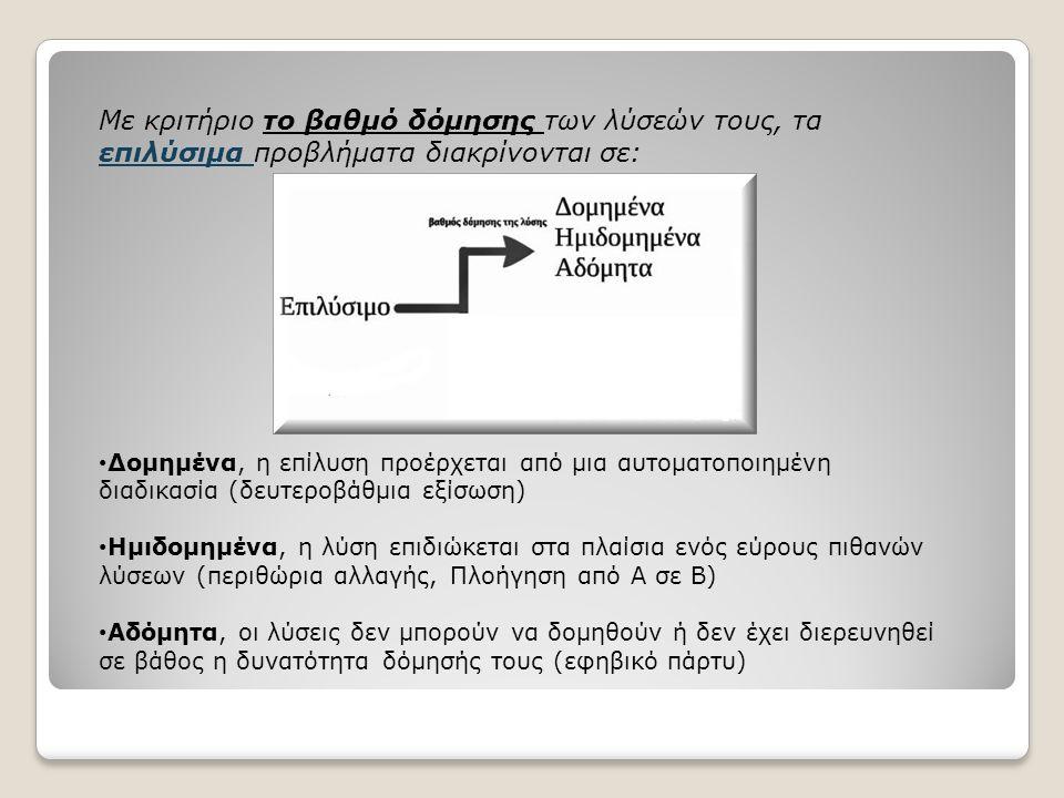 Με κριτήριο το βαθμό δόμησης των λύσεών τους, τα επιλύσιμα προβλήματα διακρίνονται σε: Δομημένα, η επίλυση προέρχεται από μια αυτοματοποιημένη διαδικασία (δευτεροβάθμια εξίσωση) Ημιδομημένα, η λύση επιδιώκεται στα πλαίσια ενός εύρους πιθανών λύσεων (περιθώρια αλλαγής, Πλοήγηση από Α σε Β) Αδόμητα, οι λύσεις δεν μπορούν να δομηθούν ή δεν έχει διερευνηθεί σε βάθος η δυνατότητα δόμησής τους (εφηβικό πάρτυ)