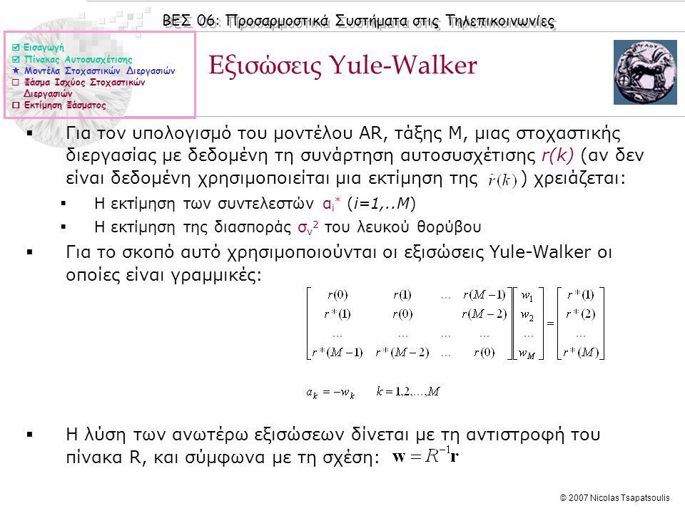 ΒΕΣ 06: Προσαρμοστικά Συστήματα στις Τηλεπικοινωνίες © 2007 Nicolas Tsapatsoulis Εξισώσεις Yule-Walker (ΙΙ)  Η διασπορά σ ν 2 του λευκού θορύβου δίνεται από τη σχέση:  Εισαγωγή  Πίνακας Αυτοσυσχέτισης  Μοντέλα Στοχαστικών Διεργασιών  Φάσμα Ισχύος Στοχαστικών Διεργασιών  Εκτίμηση Φάσματος Παράδειγμα: Η συνάρτηση αυτοσυσχέτισης μιας στοχαστικής διεργασίας Χ(n) απεικονίζεται στο διπλανό σχήμα.