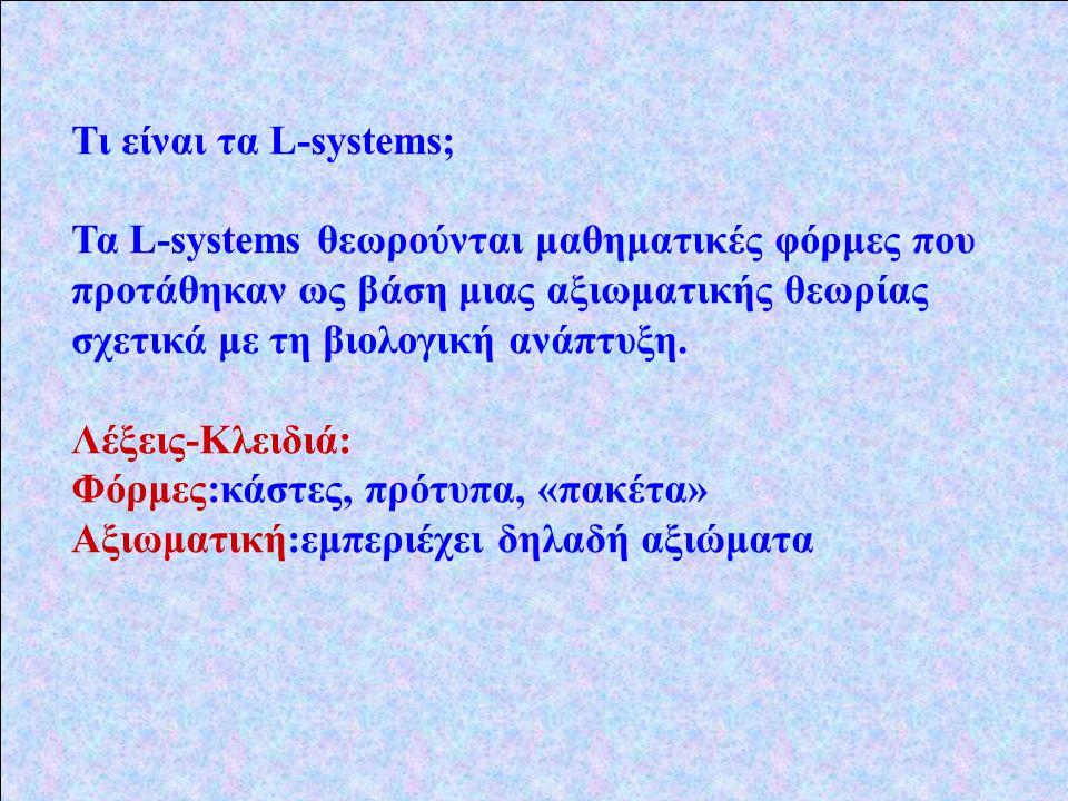 Τι είναι τα L-systems; Τα L-systems θεωρούνται μαθηματικές φόρμες που προτάθηκαν ως βάση μιας αξιωματικής θεωρίας σχετικά με τη βιολογική ανάπτυξη.