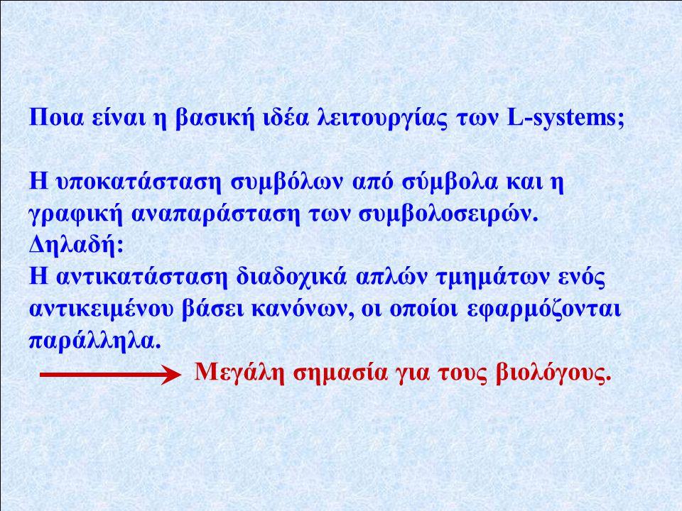 Ποια είναι η βασική ιδέα λειτουργίας των L-systems; Η υποκατάσταση συμβόλων από σύμβολα και η γραφική αναπαράσταση των συμβολοσειρών.