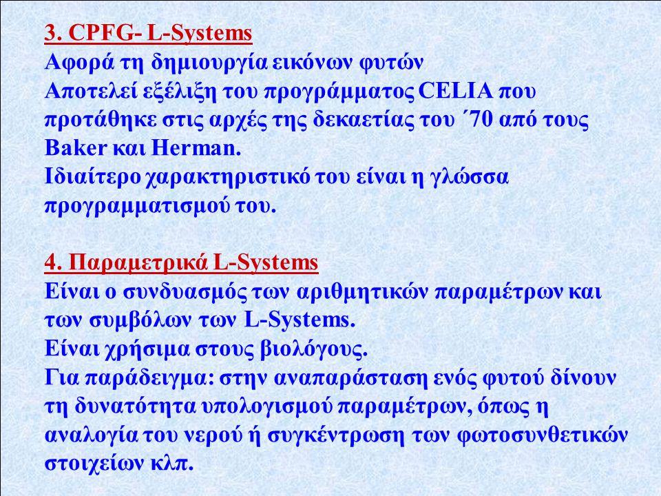 3. CPFG- L-Systems Αφορά τη δημιουργία εικόνων φυτών Αποτελεί εξέλιξη του προγράμματος CELIA που προτάθηκε στις αρχές της δεκαετίας του ΄70 από τους B